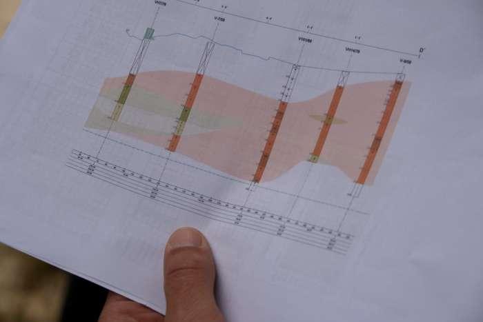 Takhle vypadá plánek těžařů. Svislé syté sloupce jsou jednotlivé vrty (barvy označují jednotlivé kvality), na základě kterých je proveden výpočet zásob a je řízena těžba.